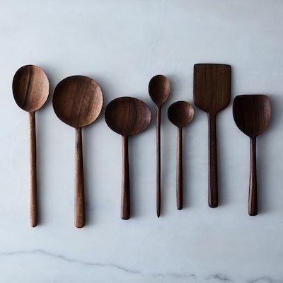 Hawkins New York Simple Walnut Wooden Spoons - Complete Set Of 7