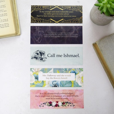 'First And Last Line' Bookmark Set