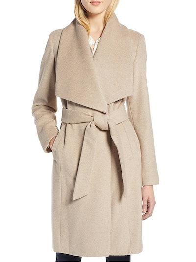 Slick Wool Blend Wrap Coat