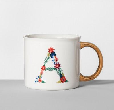 Monogrammed Porcelain Floral Mug 16oz
