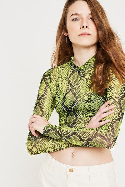 Neon Snake Print Funnel Neck Top