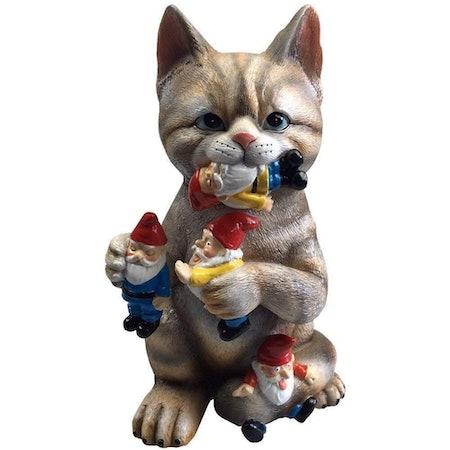 Mischievous Cat Garden Gnome Figurine