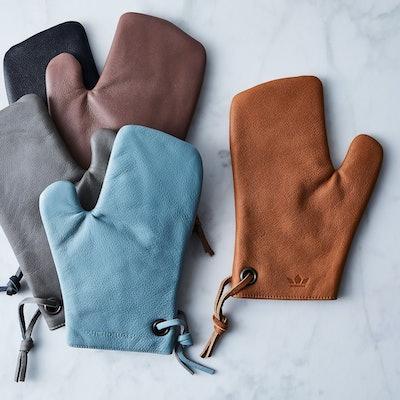 Dutch Deluxes Dutch Leather Oven Mitt - Dusty Blue