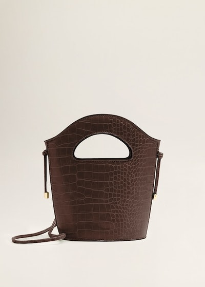 Croc-Effect Tote Bag in Burgundy