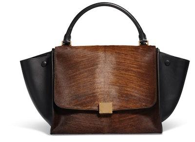 Céline Brown Ponyhair & Black Leather Trapeze Bag