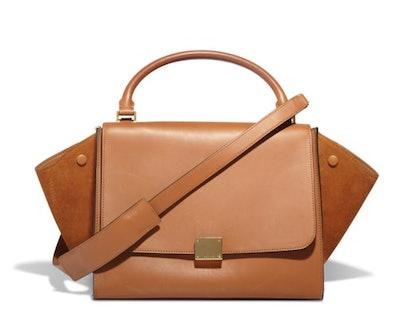 Céline Tan Leather & Suede Trapeze Bag