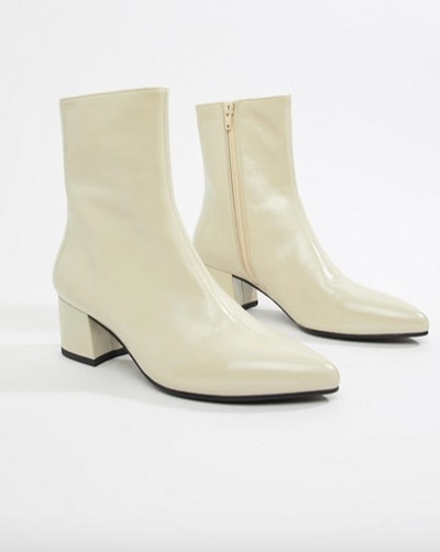 Mya Patent Leather Off White Heeled Ankle Boot