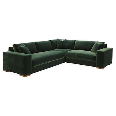 Robin Bruce Maddox Right-Facing Sectional, Forest Green Velvet