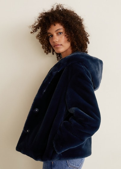 Hooded Faux-Fur Coat in Navy