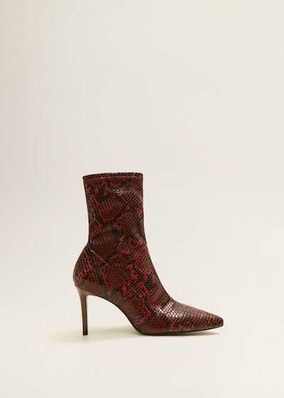 Snake-Effect Ankle Boots in Red