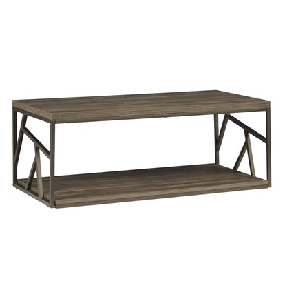 Lincoln Metal Contemporary Distressed Wood Coffee Table