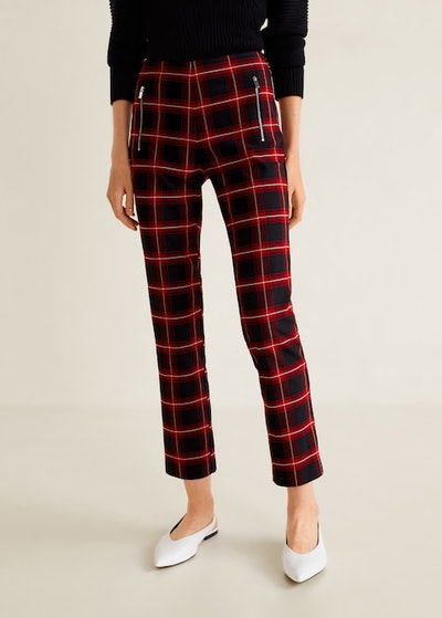 Zipped Check Trousers