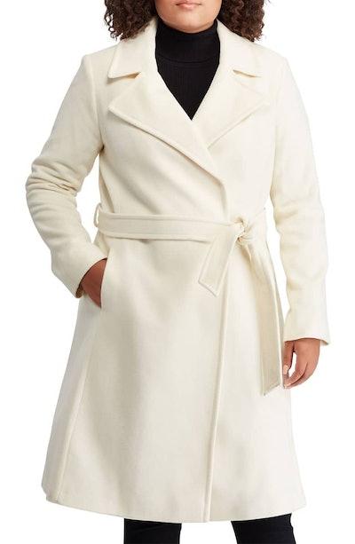 Wool Blend Wrap Coat