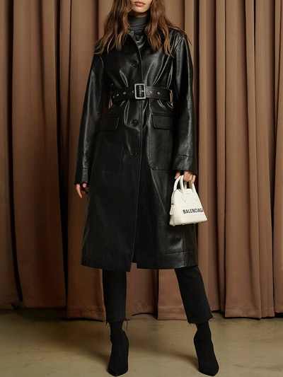 Black Vegan Leather Trench Coat