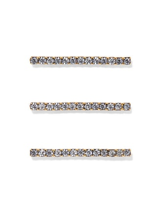 Fete Set Of Three Gold-Tone Crystal Hair Pins
