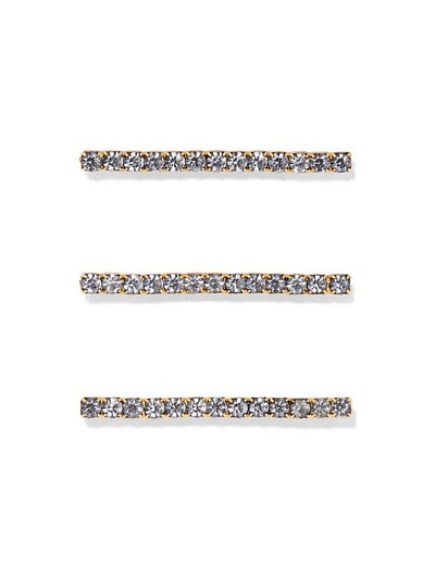 Fete Set Of Three Gold-Tone Crystal Hair Pins