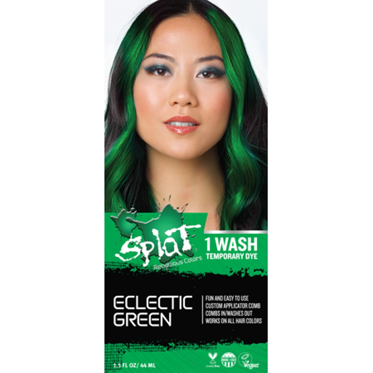 """Splat 1 Wash No Bleach Hair Color Kit in """"Eclectic Green"""""""