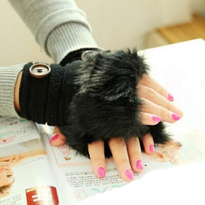 BEAUTYVAN Faux Rabbit Fur Mittens