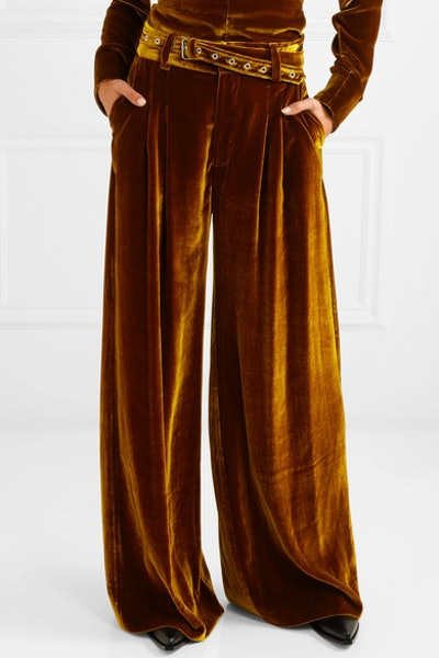 Belted Velvet Wide-Leg Pants