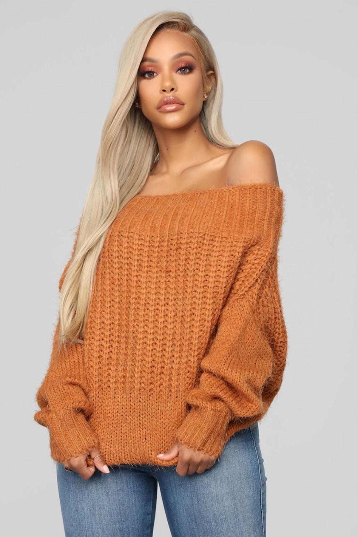Aleta Off Shoulder Sweater - Camel