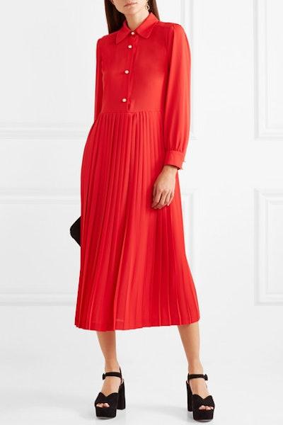 Barbara Pleated Crepe Midi Dress