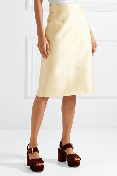 Wool And Silk-Blend Midi Skirt