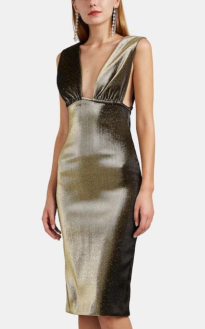 Ruched Cotton-Blend Lamé Midi-Dress