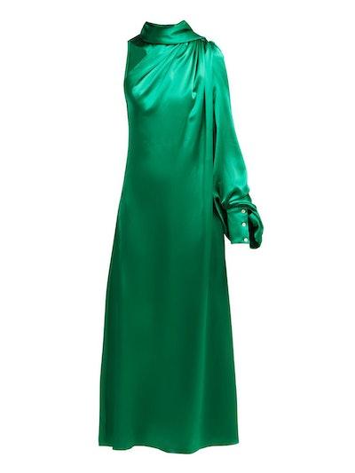 One-Shoulder Gathered Silk-Satin Dress