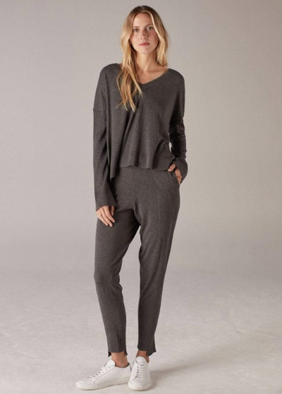 Silk Cashmere Slim Pant Smoke