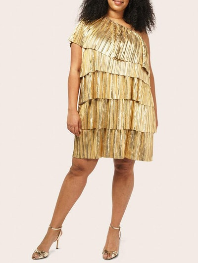 One Shoulder Metallic Pleated Dress