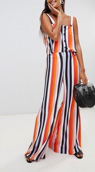 Miss Selfridge Rainbow Striped Button-Up Cami & Pants Two-Piece