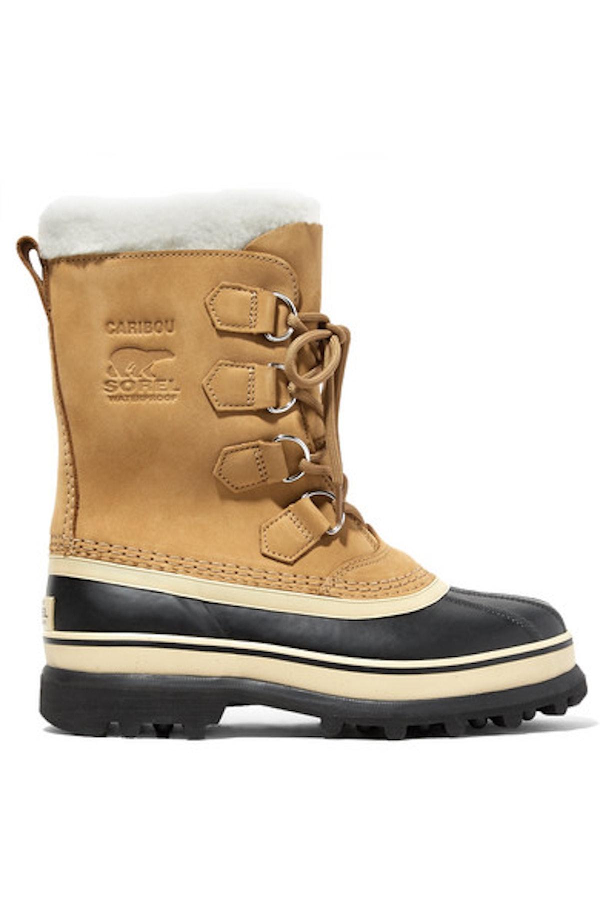 SOREL Caribou fleece-trimmed nubuck and rubber snow boots