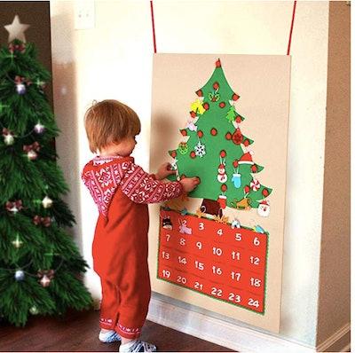 OurWarm Felt Christmas Tree Advent Calendar with Pockets