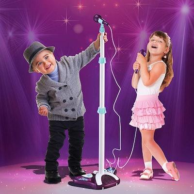 1. Kids Karaoke Machine with Two Microphones & Adjustable Stand