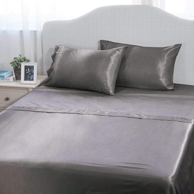 Bedsure 4-Piece Satin Bed Sheet Set