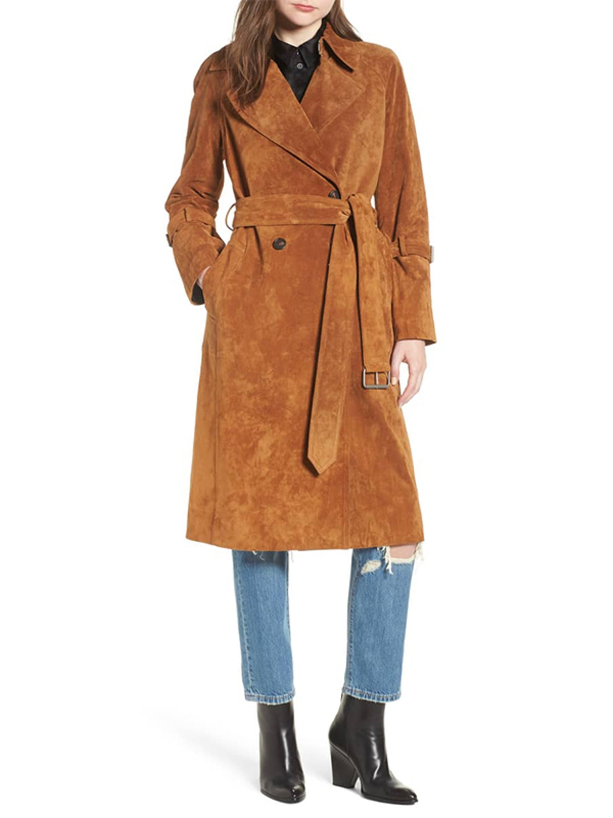 Genuine Suede Trench Coat