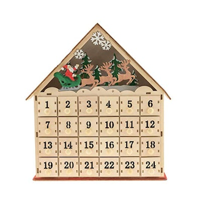 Clever Creations Traditional LED Wooden Advent Calendar
