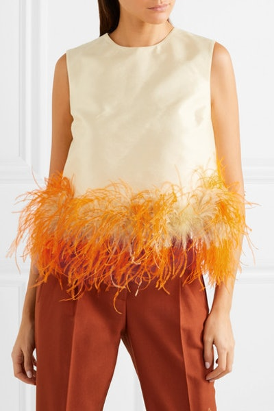 Feather-Trimmed Wool And Silk-Blend Top