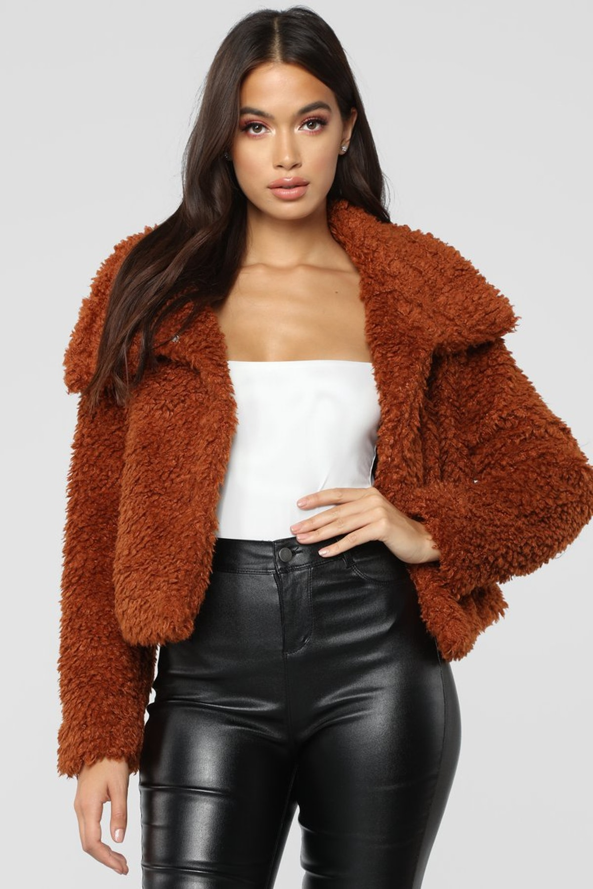 Furry Chilly Jacket - Cognac