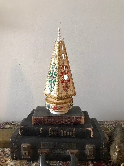 """Vintage Bohemian 365 Mid Century Christmas Tree Music Box, Spins and Plays """"Silent Night"""""""