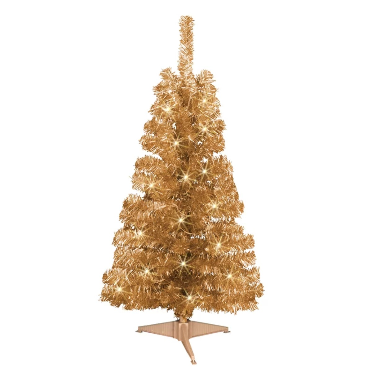 Tinsel Trees 4' Champagne Artificial Christmas Tree With 70 Clear Lights And Stand