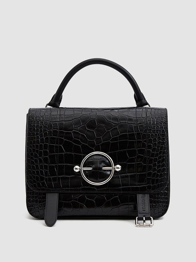 Disc Croc-Embossed Satchel in Black