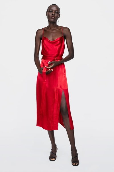 Lingerie-Style Fringed Dress With Belt