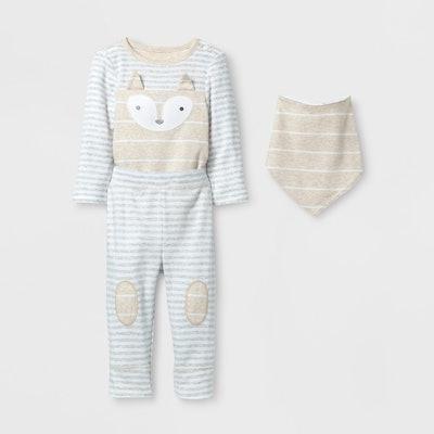 Fox Bodysuit, Pants and Bib Set
