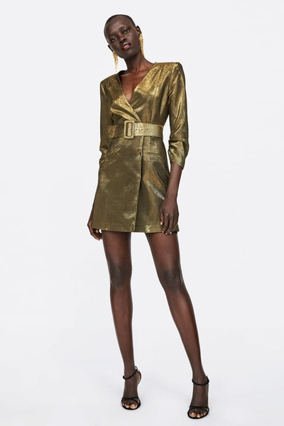 Belted Metallic Thread Dress