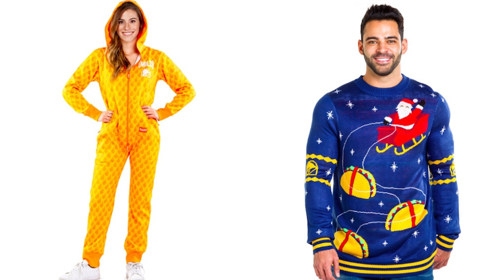 e9f24f1500 Taco Bell s Holiday Collection Includes Hot Sauce Packet Onesies For Your  Spicy BFF