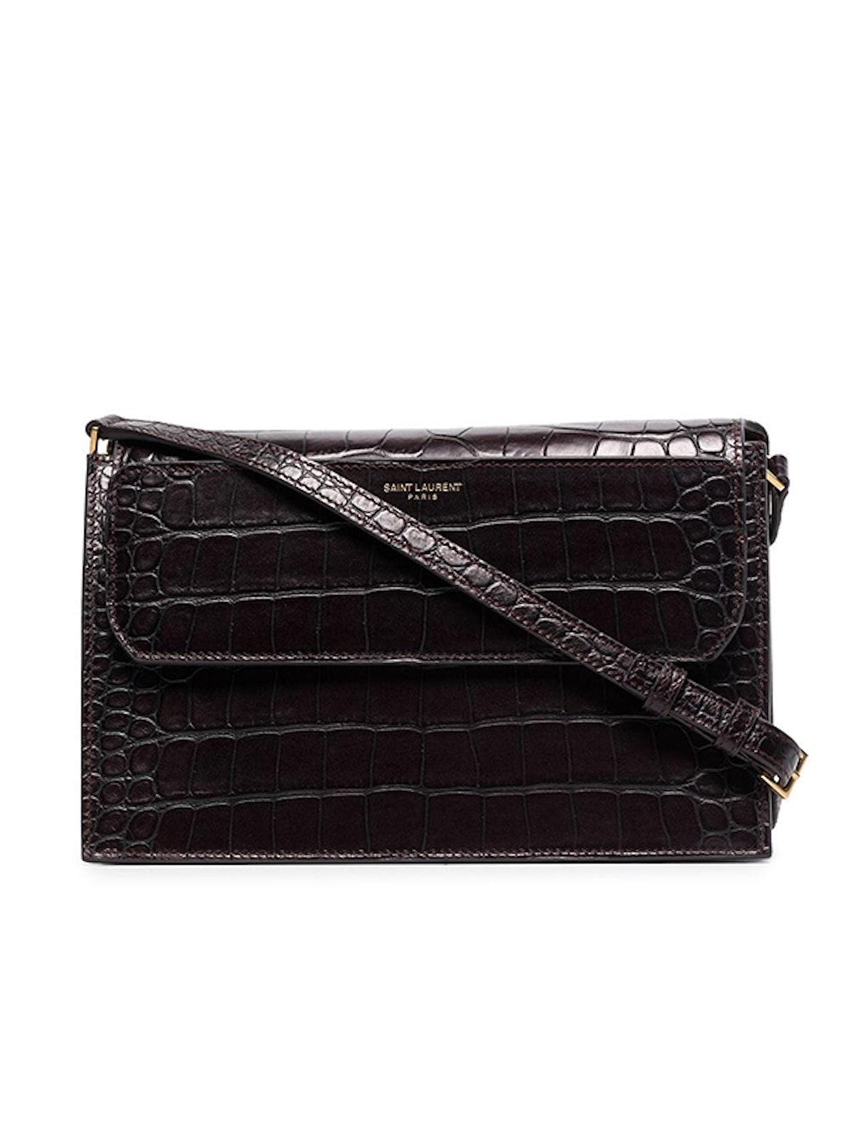 Catherine Crocodile-Effect Leather Shoulder Bag