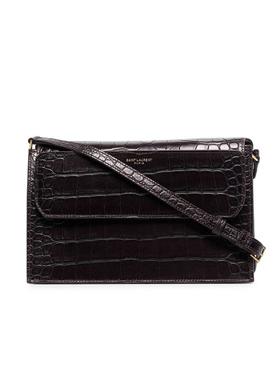 Catherine Crocodile-Effect Leather Shoulder Bag