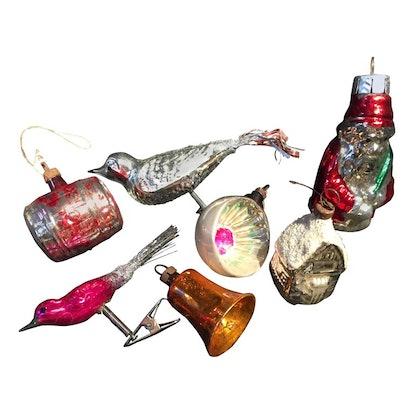 Seven Vintage Mercury Glass Christmas Tree Ornaments