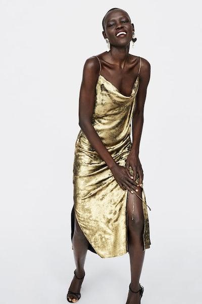 Lingerie-Style Metallic Dress